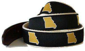 Men's Belts - MO Columbia Leather Tab Belt In Black Ribbon With White Canvas Backing By State Traditions