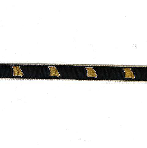 MO Columbia Leather Tab Belt in Black Ribbon with White Canvas Backing by State Traditions