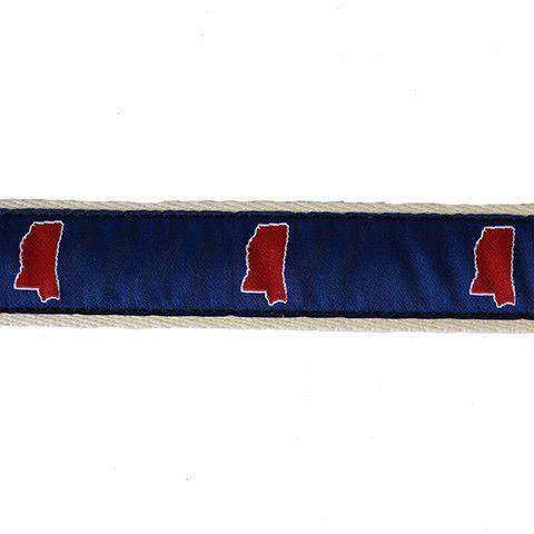 Men's Belts - MS Oxford Leather Tab Belt In Blue Ribbon With White Canvas Backing By State Traditions