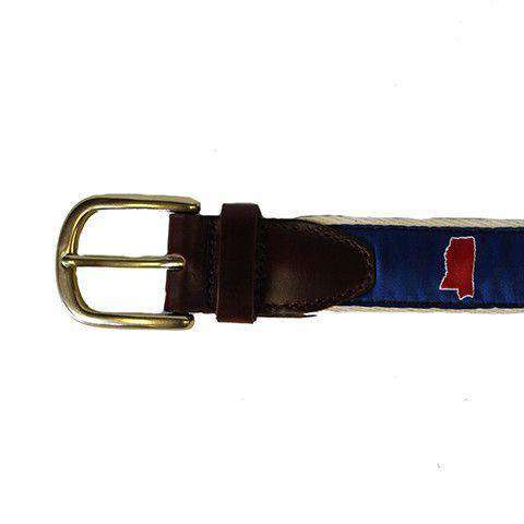 MS Oxford Leather Tab Belt in Blue Ribbon with White Canvas Backing by State Traditions