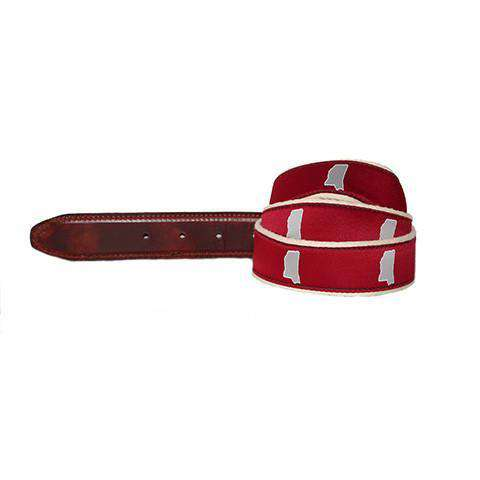 Men's Belts - MS Starkville Leather Tab Belt In Red Ribbon With White Canvas Backing By State Traditions