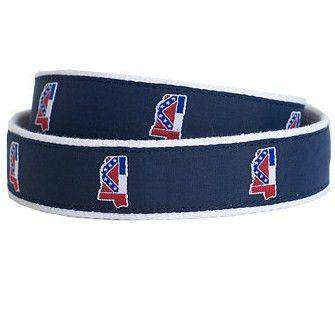 Men's Belts - MS Traditional Leather Tab Belt In Navy Ribbon With White Canvas Backing By State Traditions
