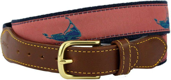 Men's Belts - Nantucket Leather Tab Belt In Nantucket Red Ribbon With Navy Canvas Backing By Knot Belt Co. - FINAL SALE