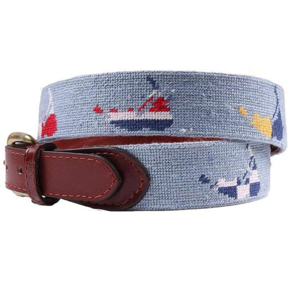 Nantucket Nautical Needlepoint Belt in Antique Blue by Smathers & Branson