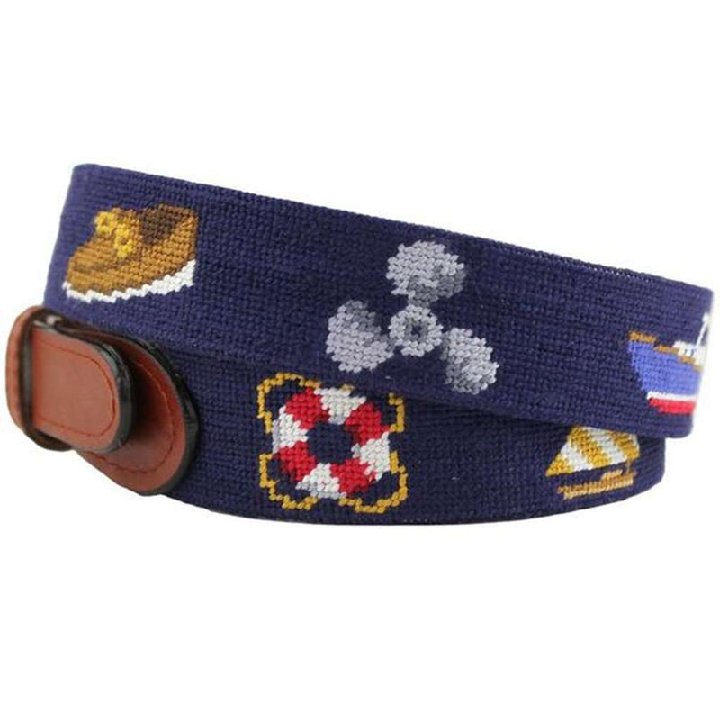 Nautical Life Needlepoint Belt in Navy by Smathers & Branson