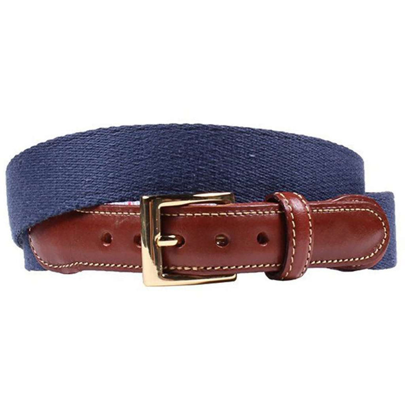 Navy Leather Tab Belt with Red, White, and Blue Lining by Country Club Prep
