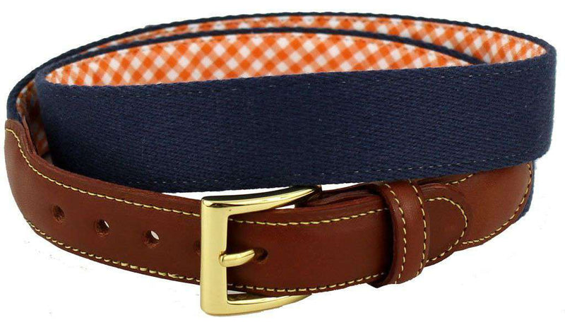 Men's Belts - Navy Surcingle Belt With Orange Gingham Interior Lining By Country Club Prep