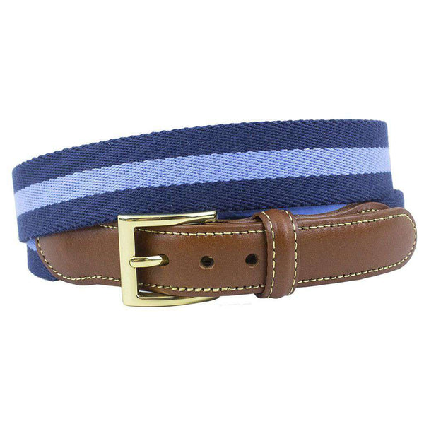 Men's Belts - Navy Surcingle Leather Tab Belt With Light Blue Stripe By Country Club Prep