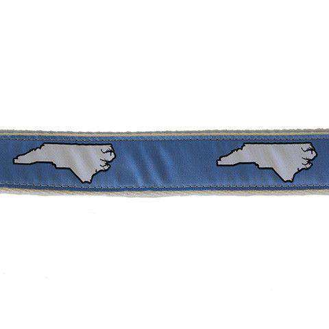 Men's Belts - NC Chapel Hill Leather Tab Belt In Carolina Blue Ribbon W/ White Canvas Backing By State Traditions