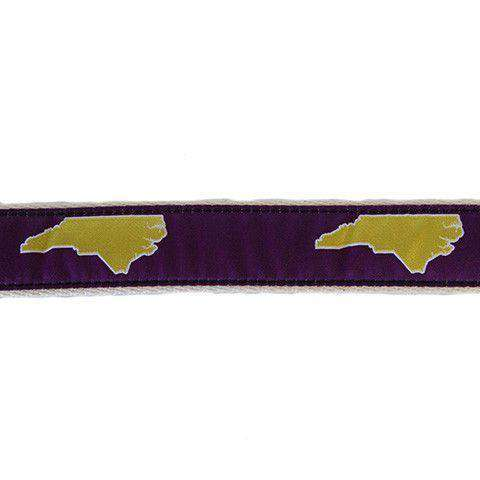 NC Greenville Leather Tab Belt in Purple Ribbon with White Canvas Backing by State Traditions