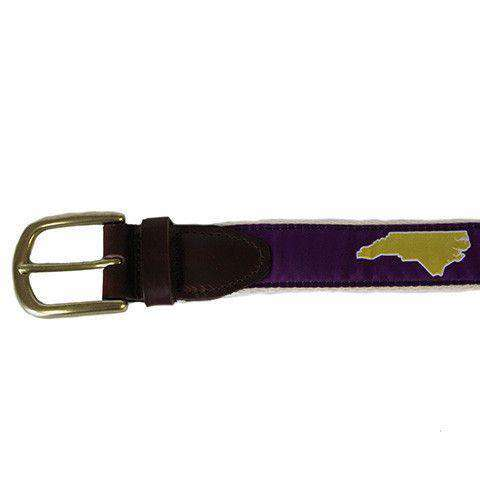 Men's Belts - NC Greenville Leather Tab Belt In Purple Ribbon With White Canvas Backing By State Traditions
