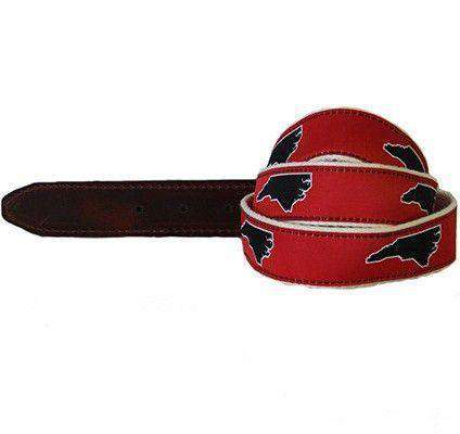 Men's Belts - NC Raleigh Leather Tab Belt In Red Ribbon With White Canvas Backing By State Traditions