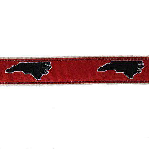 NC Raleigh Leather Tab Belt in Red Ribbon with White Canvas Backing by State Traditions