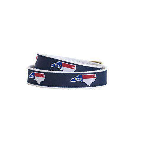 Men's Belts - NC Traditional Leather Tab Belt In Navy Ribbon With White Canvas Backing By State Traditions