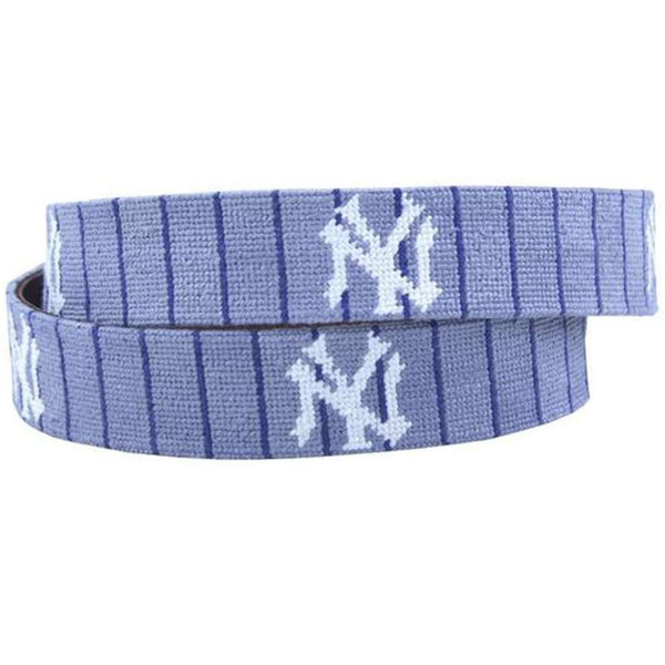 New York Yankees Cooperstown Needlepoint Belt in Grey by Smathers & Branson