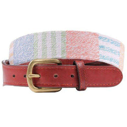 Newport Patchwork Needlepoint Belt in Navy by Smathers & Branson