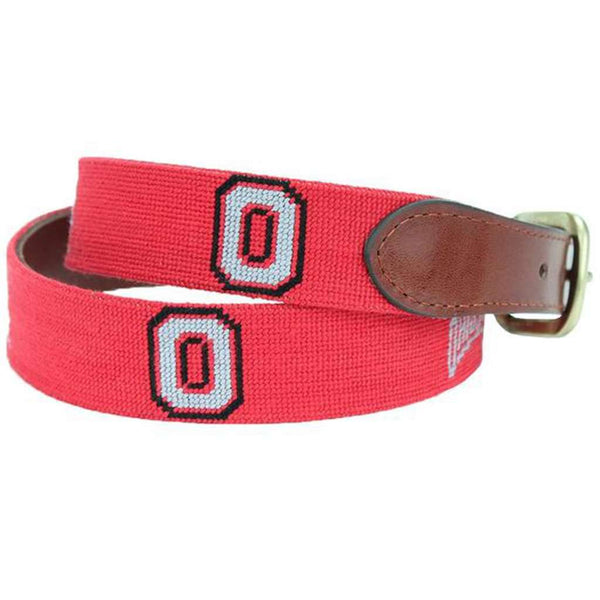 Ohio State University Needlepoint Belt in Red by Smathers & Branson