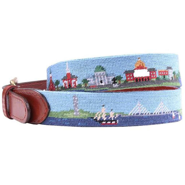 Old Boston Scene Needlepoint Belt by Smathers & Branson