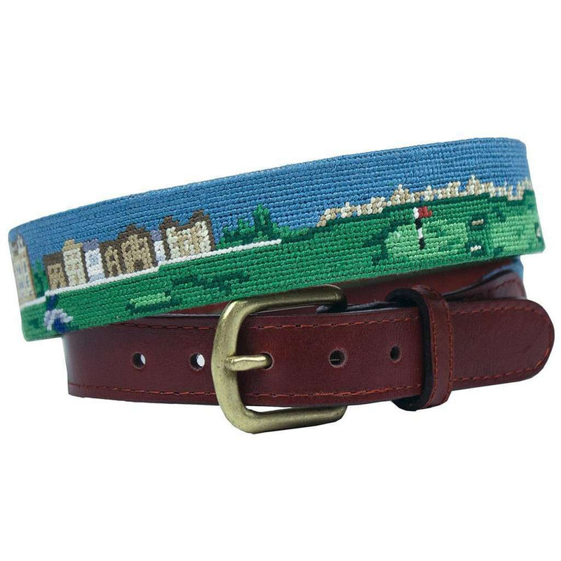 Old Course Scene Needlepoint Belt in Multi by Smathers & Branson