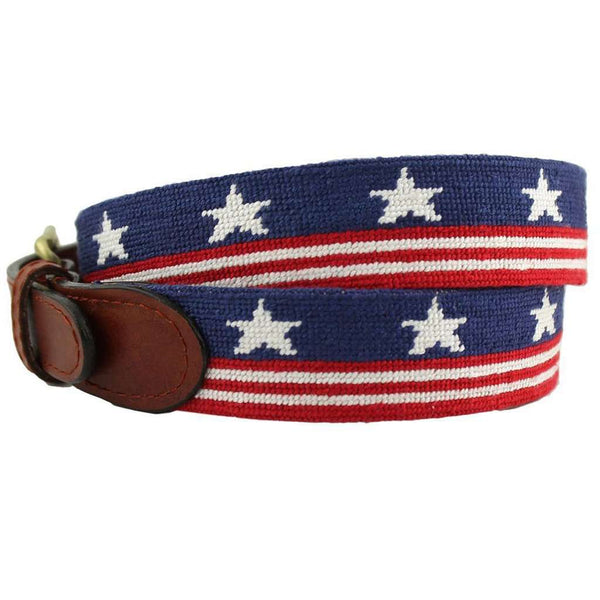 Old Glory Needlepoint Belt in Red, White and Blue by Smathers & Branson