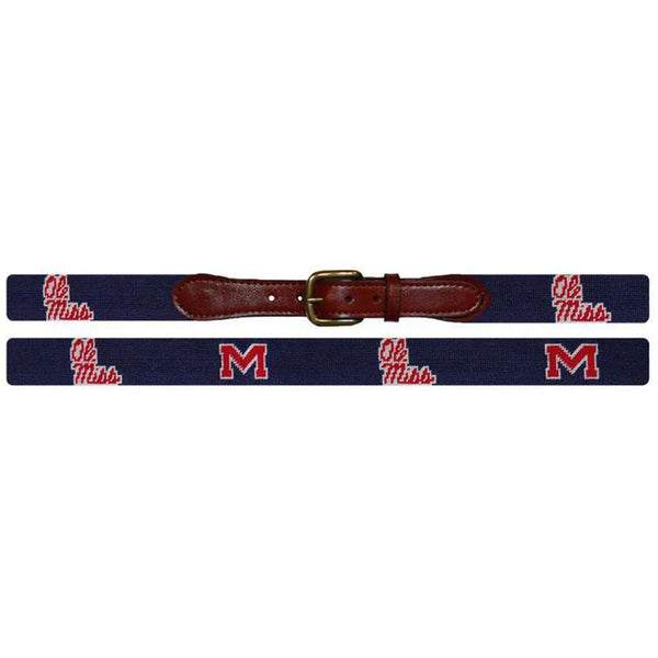 Ole Miss University Needlepoint Belt in Navy and Crimson by Smathers & Branson