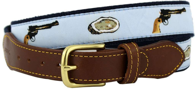 Men's Belts - Oyster Shooter Leather Tab Belt In Light Blue Ribbon With Navy Canvas Backing By Knot Belt Co. - FINAL SALE