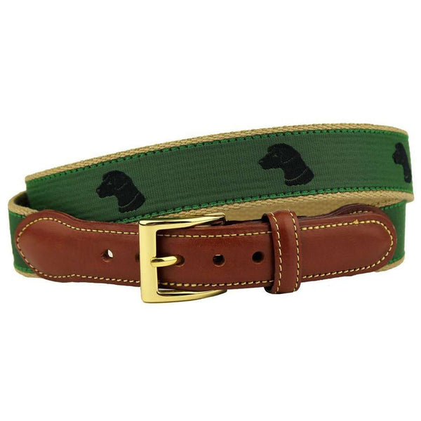 Pant's Best Friend Black Lab Leather Tab Belt in Green by Country Club Prep