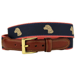 Pant's Best Friend Yellow Lab Leather Tab Belt in Navy by Country Club Prep