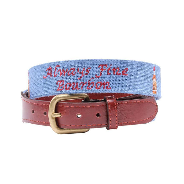 Men's Belts - Pappy Bottle Needlepoint Belt In Light Blue By Pappy & Company
