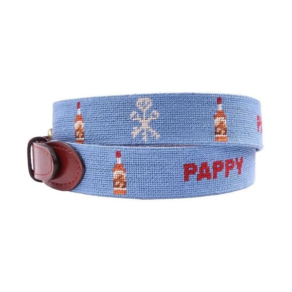 Pappy Bottle Needlepoint Belt in Light Blue by Pappy & Company
