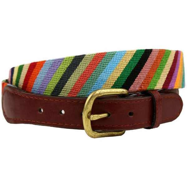 Parsons Stripe Needlepoint Belt in Multi-Color by Smathers & Branson