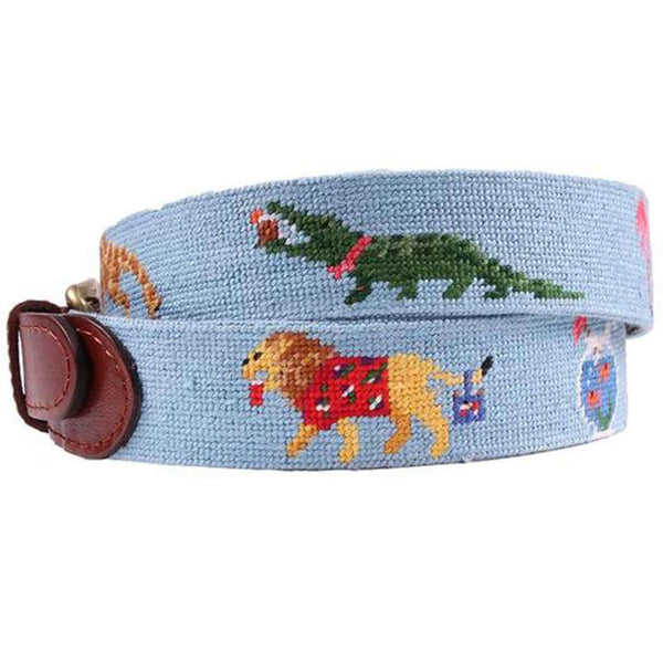 Party Animals Needlepoint Belt in Light Blue by Smathers & Branson