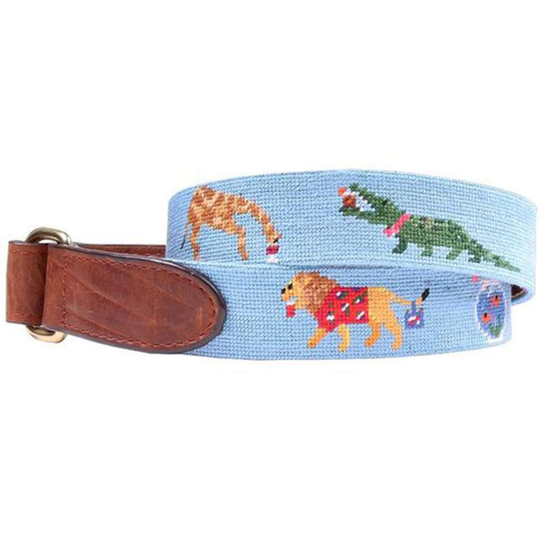 Party Animals Needlepoint D-Ring Belt in Light Blue by Smathers & Branson
