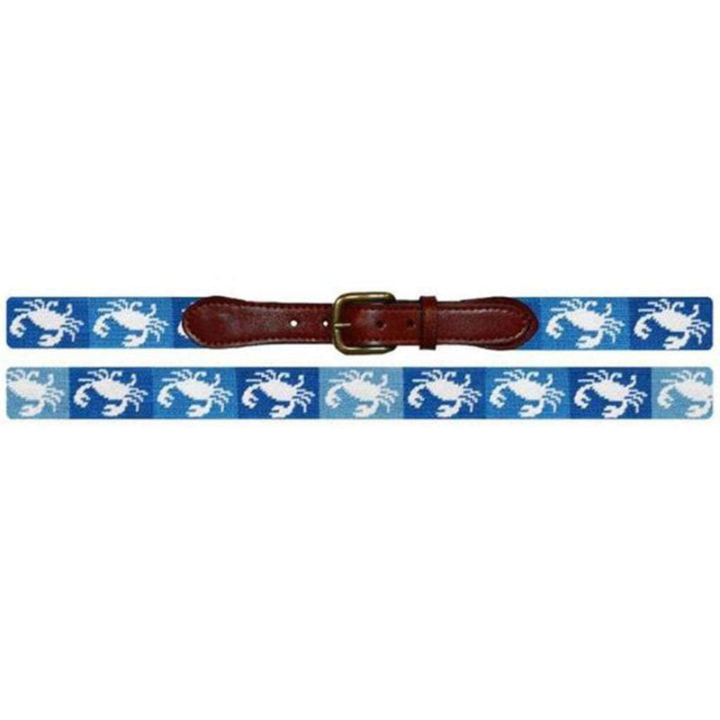 Patchwork Crab Needlepoint Belt in Blue by Smathers & Branson