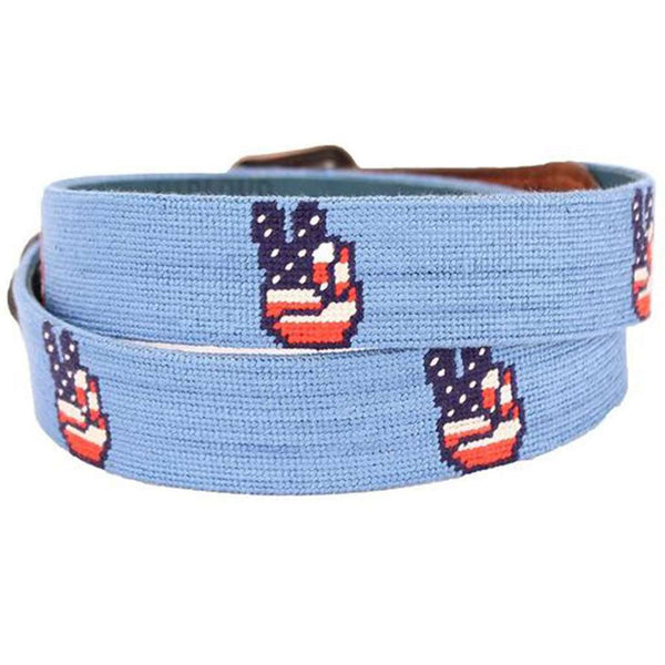 Patriotic Peace Needlepoint Belt by Smathers & Branson