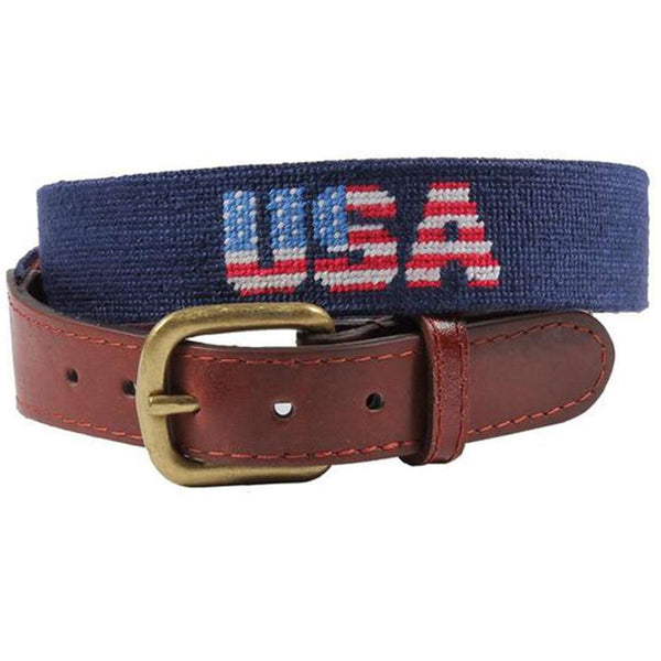 Patriotic USA Needlepoint Belt in Dark Navy by Smathers & Branson
