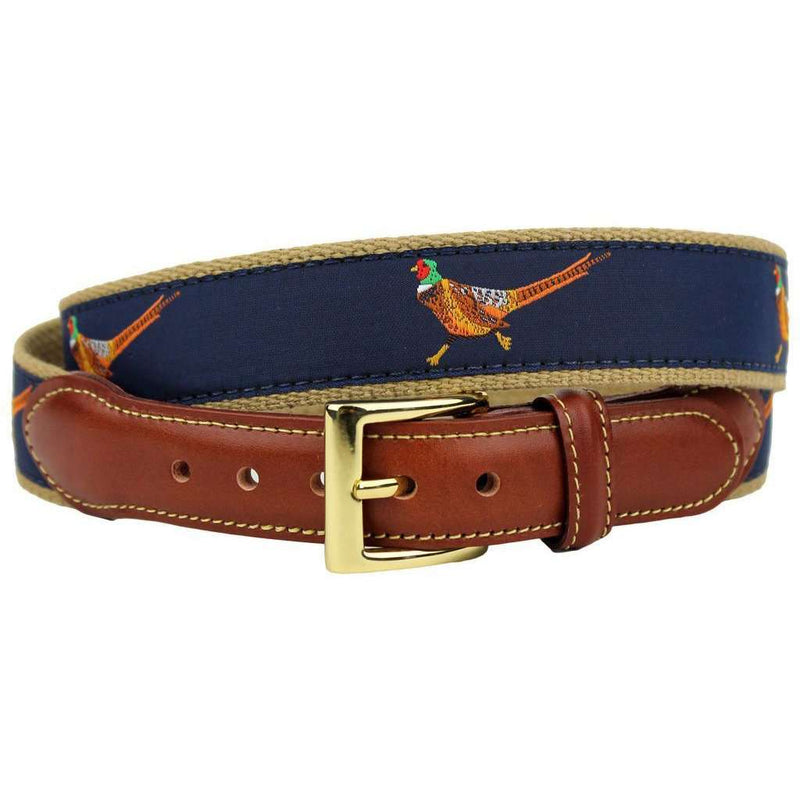 Pheasant Leather Tab Belt in Navy on Khaki Canvas by Country Club Prep
