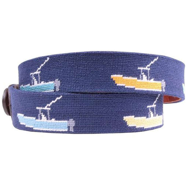 Power Boats Needlepoint Belt in Dark Navy by Smathers & Branson