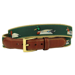 Quack Attack Leather Tab Belt in Green by Country Club Prep