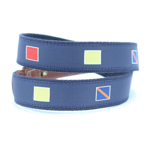 Navy Surcingle Leather Tab Belt with Light Blue Stripe by Country Club Prep