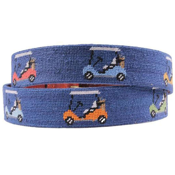 Rainbow Golf Carts Needlepoint Belt in Classic Navy by Smathers & Branson
