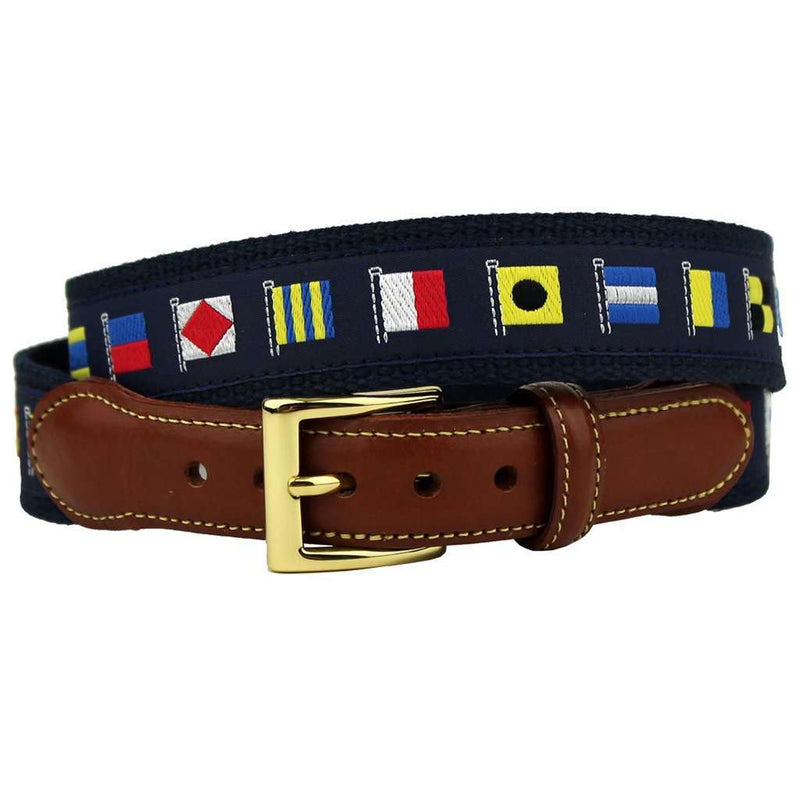 Release the Kraken Nautical Flag Leather Tab Belt in Navy by Country Club Prep
