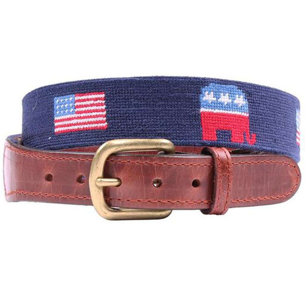 Republican Elephant and American Flags Needlepoint Belt in Midnight Navy by Smathers & Branson