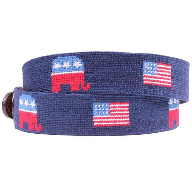 Republican Elephant and American Flags Needlepoint Belt in Midnight Navy by  Smathers   Branson e3aeca8fd8