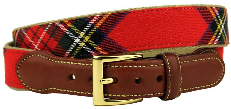 Men's Belts - Royal Stewart Tartan Plaid Belt On Natural Canvas By Country Club Prep
