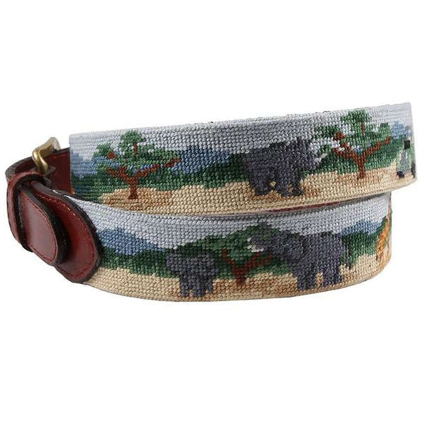Safari Scene Needlepoint Belt by Smathers & Branson
