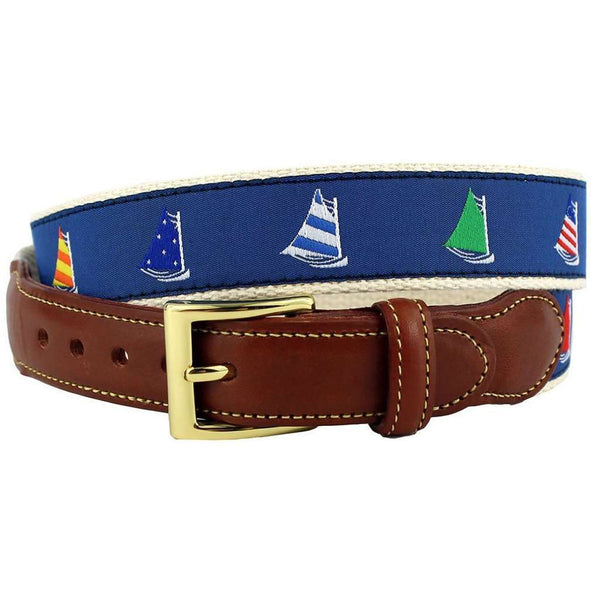 Sailor's Delight Cat Boat Leather Tab Belt in Blue on Natural Canvas by Country Club Prep