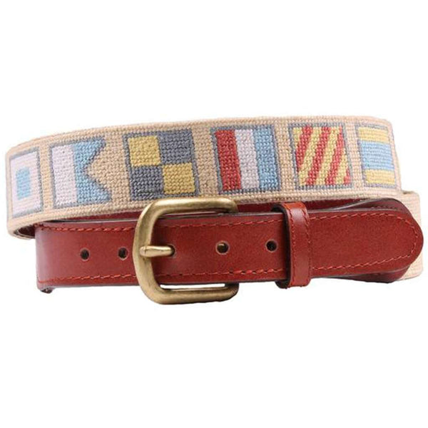 Salty Dog Needlepoint Belt in Butter by Smathers & Branson