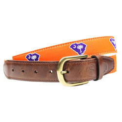 Men's Belts - SC Clemson Gameday Leather Tab Belt In Orange Ribbon With White Canvas Backing By State Traditions