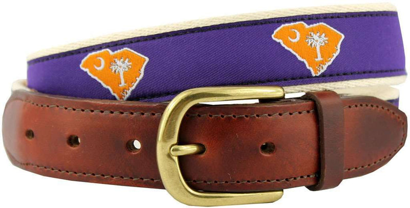 SC Clemson Gameday Leather Tab Belt in Purple Ribbon with White Canvas Backing by State Traditions